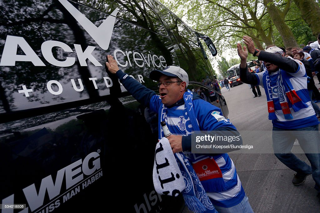 Fans of Duisburg welcome the bus prior to the Second Bundesliga play-off second leg match between MSV Duisburg and Wuerzburger Kickers at Schauinsland-Reisen-Arena on May 24, 2016 in Duisburg, Germany.