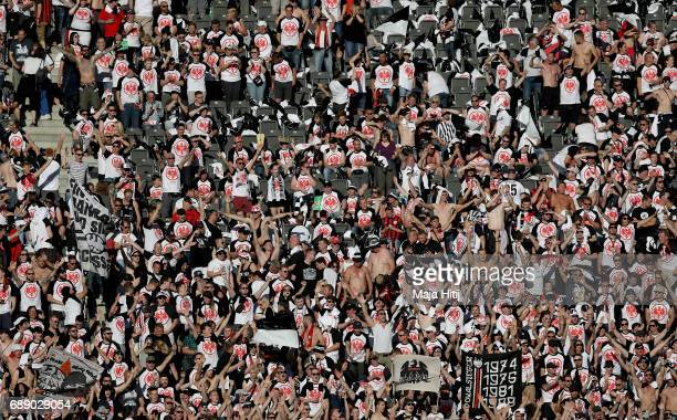 Fans of Eintracht Frankfurt are seen seen prior to the DFB Cup Final 2017 between Eintracht Frankfurt and Borussia Dortmund at Olympiastadion on May...