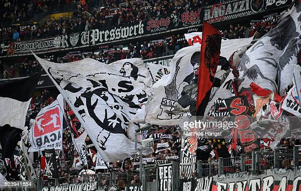 Fans of Eintracht Frankfurt with flags seen prior to the Bundesliga match between Eintracht Frankfurt and 1 FSV Mainz 05 at CommerzbankArena on April...