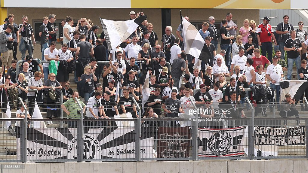 Fans of Elversberg duringthe Regionalliga Playoff Second Leg match between FSV Zwickau and SV Elversberg on May 29, 2016 in Plauen, Germany.