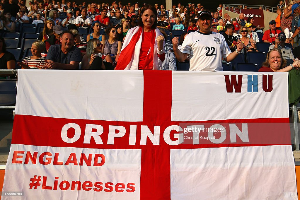 Fans of England celebrate ther team prior to the UEFA Women's EURO 2013 Group C match between England and Spain at Linkoping Arena on July 12, 2013 in Linkoping, Sweden.