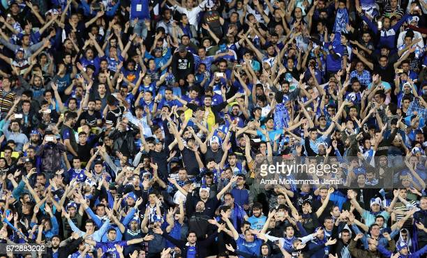 fans of Esteghlal during AFC Champions League match between Esteghlal vs Al Ahli FC at Azadi Stadium on April 25 2017 in Tehran Iran