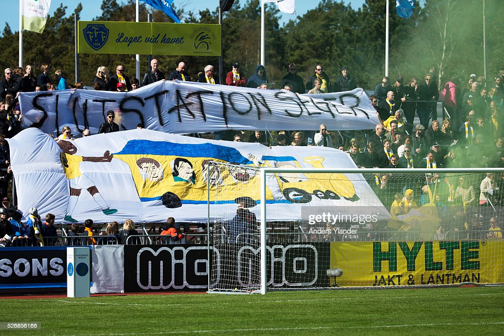Fans of Falkenbergs FF during the Allsvenskan match between Falkenbergs FF and IF Elfsborg at Falkenbergs IP on May 1, 2016 in Falkenberg, Sweden.