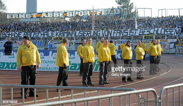 Fans of FC Carl Zeiss Jena are seen during the 3 Liga match between Carl Zeiss Jena and Dynamo Dresden at the ErnstAbbeSportfeld on November 7 2009...