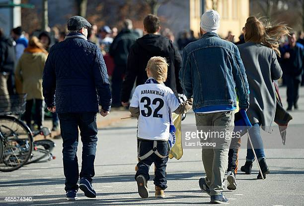 Fans of FC Copenhagen arriving to the stadium prior the Danish Superliga match between FC Copenhagen and Brondby IF at Telia Parken Stadium on March...