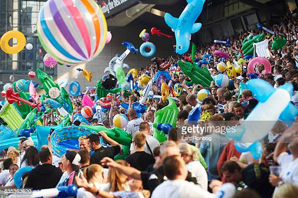 Fans of FC Copenhagen celebrate the Danish Championship and the summer with beach mattress beach toys and swimming rings thrown in to the air after...