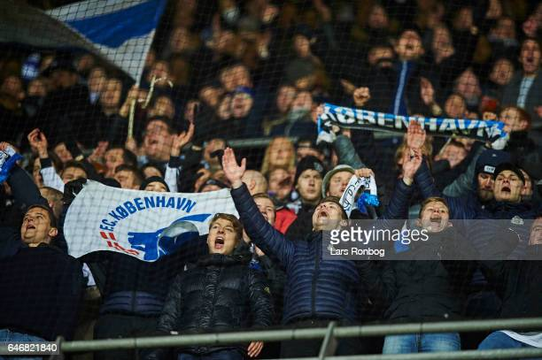 Fans of FC Copenhagen cheer after the Danish Cup DBU Pokalen match match between B93 and FC Copenhagen at Telia Parken Stadium on March 1 2017 in...