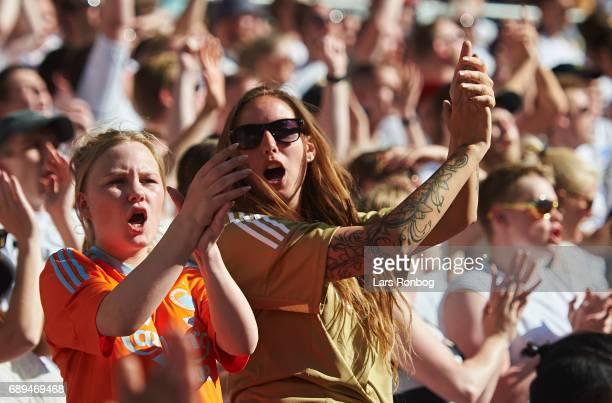 Fans of FC Copenhagen cheer during the Danish Alka Superliga match between FC Copenhagen and Sonderjyske at Telia Parken Stadium on May 28 2017 in...