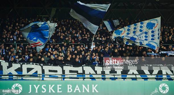 Fans of FC Copenhagen during after the Danish Cup DBU Pokalen match match between B93 and FC Copenhagen at Telia Parken Stadium on March 1 2017 in...