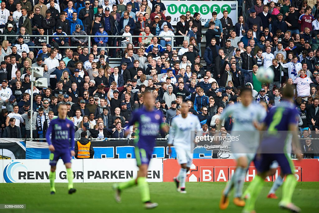 Fans of FC Copenhagen during the Danish Alka Superliga match between FC Copenhagen and FC Midtjylland at Telia Parken Stadium on May 01, 2016 in Copenhagen, Denmark.