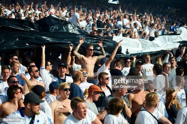 Fans of FC Copenhagen during the Danish Cup Final DBU Pokalen match between FC Copenhagen and Brondby IF at Telia Parken Stadium on May 25 2017 in...