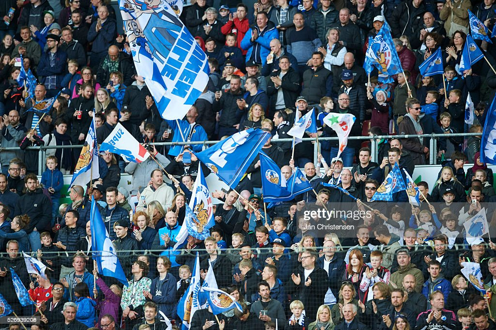 Fans of FC Copenhagen prior to the Danish Alka Superliga match between FC Copenhagen and FC Midtjylland at Telia Parken Stadium on May 01, 2016 in Copenhagen, Denmark.