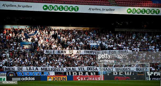 Fans of FC Copenhagen with a banner showing their frustration over their team during the Danish Superliga match between FC Copenhagen and FC...