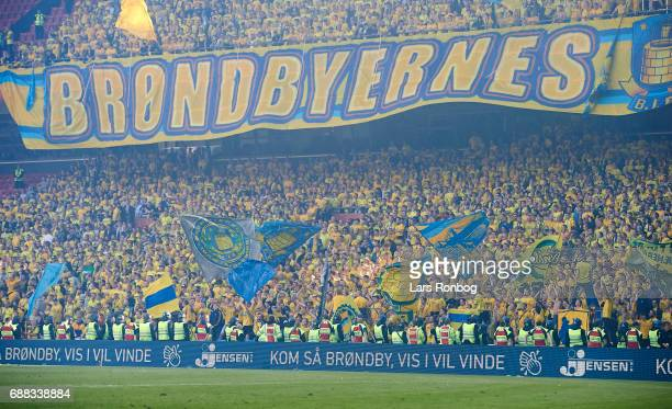 Fans of FC Copenhagen with a tifo during the Danish Cup Final DBU Pokalen match between FC Copenhagen and Brondby IF at Telia Parken Stadium on May...