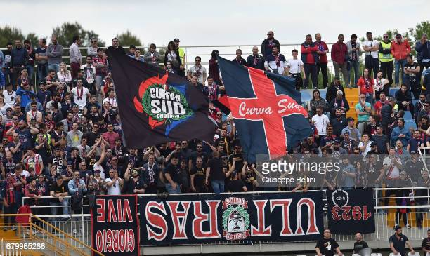 Fans of FC Crotone during the Serie A match between Pescara Calcio and FC Crotone at Adriatico Stadium on May 7 2017 in Pescara Italy