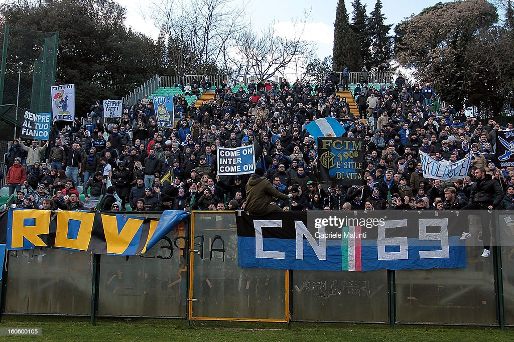 Fans of FC Internazionale Milano during the Serie A match between AC Siena and FC Internazionale Milano at Stadio Artemio Franchi on February 3, 2013 in Siena, Italy.