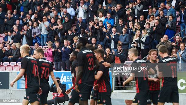 Fans of FC Midtjylland celebrate during the Danish Alka Superliga match between FC Midtjylland and Brondby IF at MCH Arena on May 7 2017 in Herning...