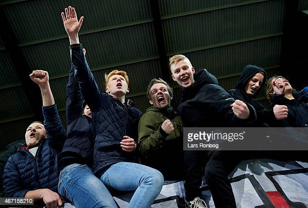 Fans of FC Midtjylland celebrate their victory after the Danish Alka Superliga match between FC Midtjylland and Hobro IK at MCH Arena on March 21...