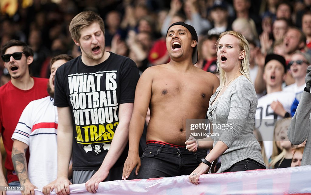 Fans of FC Midtjylland celebrate their victory after the Danish Alka Superliga match between FC Midtjylland and FC Nordsjalland at MCH Arena on May 29, 2016 in Herning, Denmark.