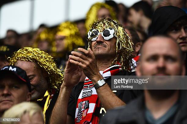 Fans of FC Midtjylland celebrating and cheer during the Danish Alka Superliga match between FC Midtjylland and Sonderjyske at MCH Arena on JUNE 7...