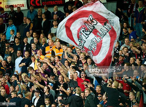 Fans of FC Midtjylland during the Danish Alka Superliga match between FC Midtjylland and Viborg FF at MCH Arena on July 18 2015 in Herning Denmark