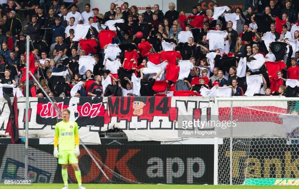 Fans of FC Midtjylland during the Danish Alka Superliga match between FC Midtjylland and Lyngby BK at MCH Arena on May 28 2017 in Herning Denmark