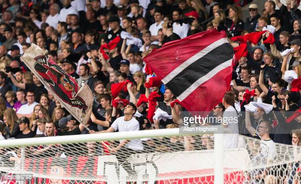 Fans of FC Midtjylland in action during the Danish Alka Superliga match between FC Midtjylland and Lyngby BK at MCH Arena on May 28 2017 in Herning...