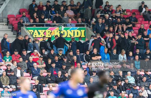 Fans of FC Midtjylland leaving the stadium during the Danish Alka Superliga match between FC Midtjylland and Lyngby BK at MCH Arena on May 28 2017 in...