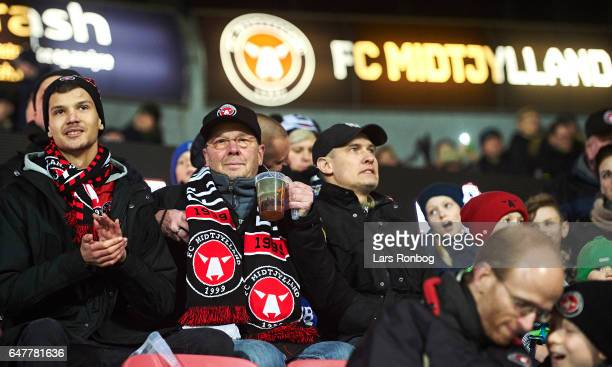 Fans of FC Midtjylland look on prior to the Danish Alka Superliga match between FC Midtjylland and Lyngby BK at MCH Arena on March 3 2017 in Herning...