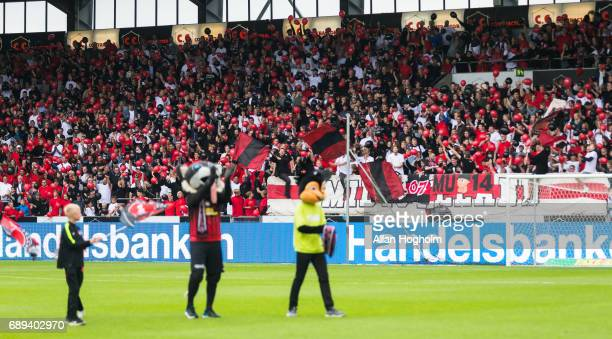 Fans of FC Midtjylland prior to the Danish Alka Superliga match between FC Midtjylland and Lyngby BK at MCH Arena on May 28 2017 in Herning Denmark