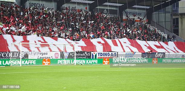 Fans of FC Midtjylland prior to the Danish Alka Superliga match between Viborg FF and FC Midtjylland at Energi Viborg Arena on August 28 2016 in...