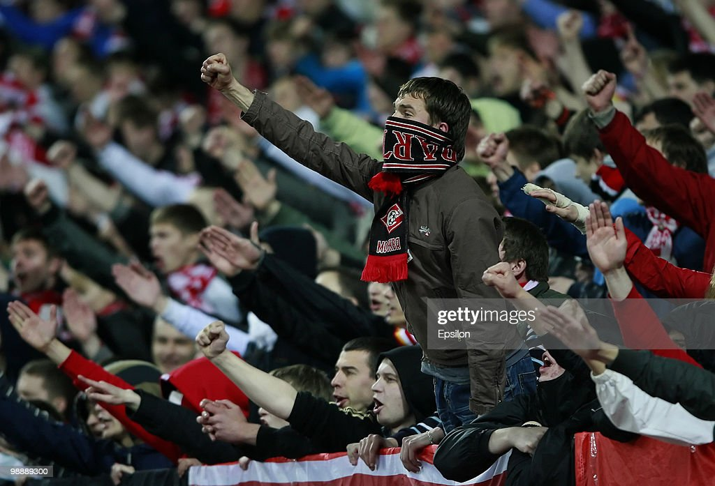 Fans of FC Spartak Moscow during the Russian Football League Championship match between FC Spartak Moscow and FC Anzhi Makhachkala at the Luzhniki...
