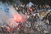 Fans of FC Zenit St Petersburg during the Russian Premier League match between FC Torpedo Moscow and FC Zenit St Petersburg on March 15 2015 at...