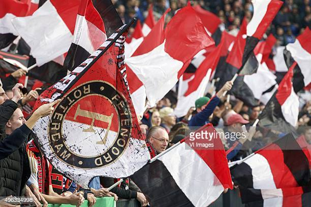 fans of Feyenoord supporter during the Dutch Eredivisie match between Feyenoord Rotterdam and Ajax Amsterdam at the Kuip on November 8 2015 in...