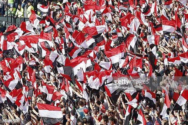 fans of Feyenoord supporters during the Dutch Eredivisie match between Feyenoord and Ajax Amsterdam at the Kuip on September 21 2014 in Rotterdam The...