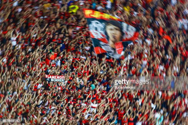 Fans of Flamengo celebrate the victory against Atletico PR during a match between Flamengo and Atletico PR as part of Copa Bridgestone Libertadores...