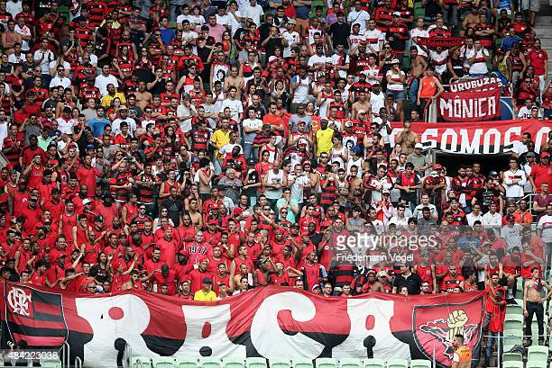 Fans of Flamengo celebrates during the match between Palmeiras and Flamengo for the Brazilian Series A 2015 at Allianz Parque on August 16 2015 in...