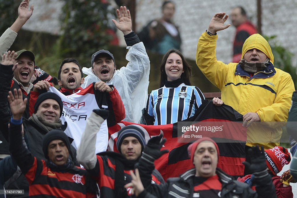 Fans of Flamengo during the match between Flamengo and Internacional for the Brazilian Serie A 2013 on July 21, 2013 in stadium Centenário in Porto Alegre, Caxias do Sul, Brazil