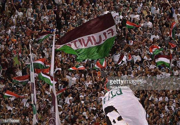 Fans of Fluminense celebrate a scored goal against Ponte Preta during a match between Fluminense and Ponte Preta as part of the brazilian...