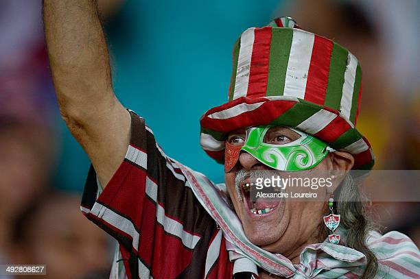 A fans of Fluminense during the match between Fluminense and Sao Paulo as part of Brasileirao Series A 2014 at Maracana on May 21 2014 in Rio de...