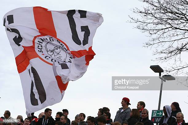 Fans of Fortuna Koeln wave a flag during the third League match between Fortuna Koeln and Holstein Kiel at Suedstadion on November 9 2014 in Cologne...
