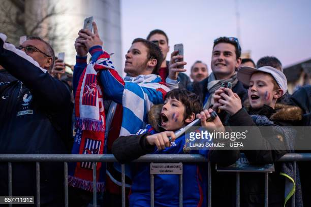 Fans of France are waiting for their team prior to the FIFA 2018 World Cup Qualifier between Luxembourg and France at Stade Josy Barthel on March 25...
