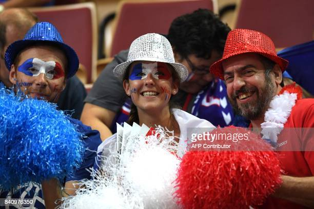 Fans of France cheer their team during the playoff phase match between France and Czech Republic of the 2017 CEV Men's Volleyball European...