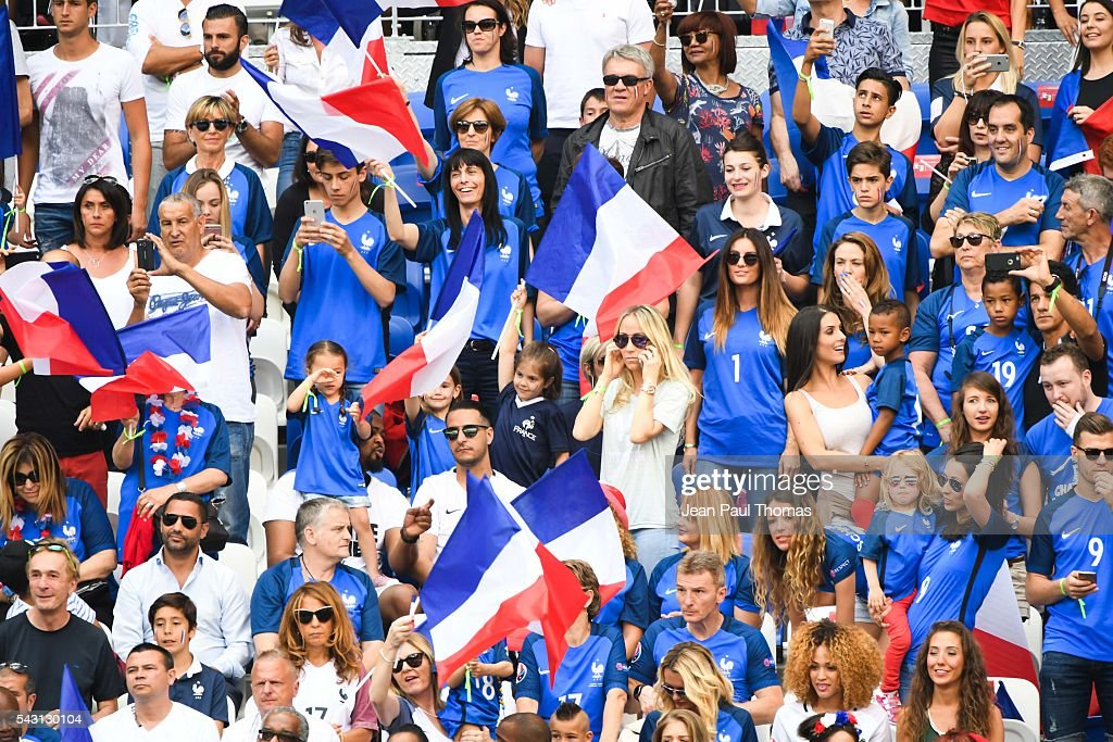 Fans of France during the European Championship match Round of 16 between France and Republic of Ireland at Stade des Lumieres on June 26, 2016 in Lyon, France.