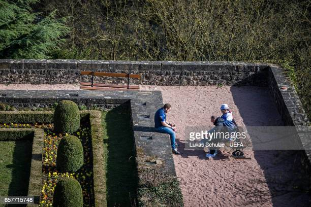 Fans of France enjoy the sun in the city of Luxembourg prior to the FIFA 2018 World Cup Qualifier between Luxembourg and France at Stade Josy Barthel...