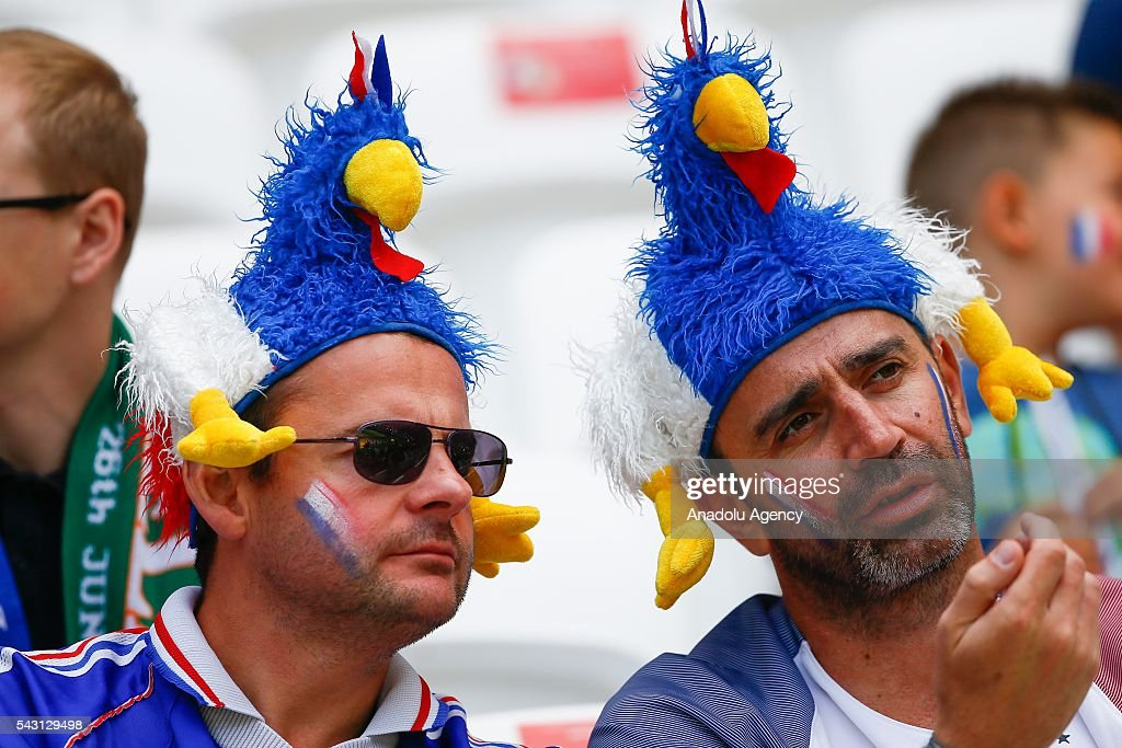 Fans of France national football team are seen ahead of the UEFA Euro 2016 Round of 16 football match between France and Ireland at the Stade de Lyon in Lyon, France on June 26, 2016.