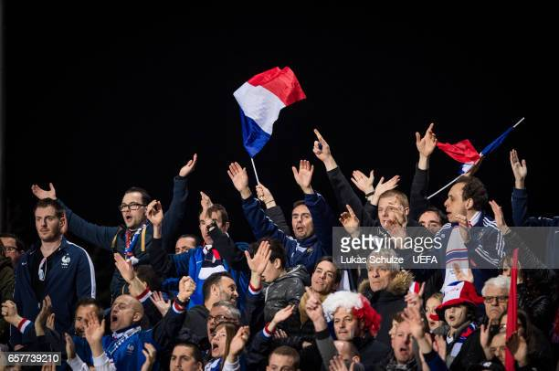 Fans of France support their team during the FIFA 2018 World Cup Qualifier between Luxembourg and France at Stade Josy Barthel on March 25 2017 in...