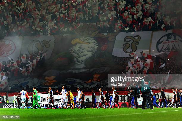 Fans of Frankfurt show a choreography prior to the Bundesliga match between Eintracht Frankfurt and SV Darmstadt 98 at CommerzbankArena on December 6...