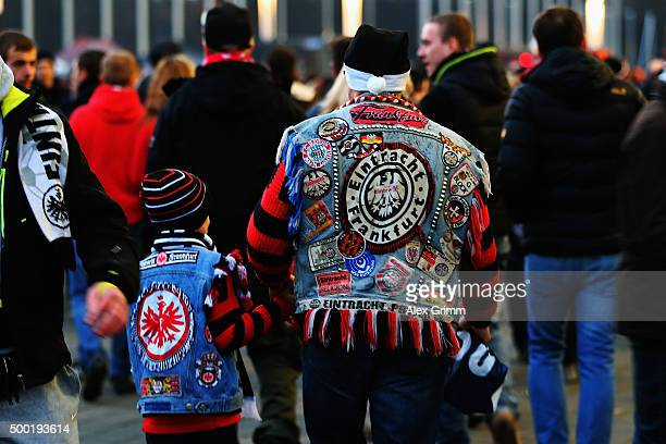 Fans of Frankfurt walk outside the stadium prior to the Bundesliga match between Eintracht Frankfurt and SV Darmstadt 98 at CommerzbankArena on...
