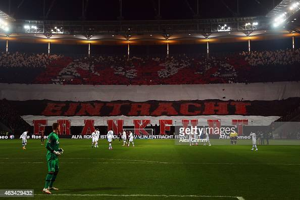 Fans of Frankfurt welcome the teams with a choreography for the Bundesliga match between Eintracht Frankfurt and FC Schalke 04 at CommerzbankArena on...
